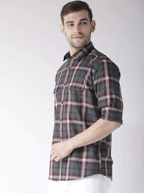 Grey & Red Slim Fit Casual Shirt Side  View