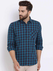 Richlook Men Blue Slim Fit Checked Casual Shirt