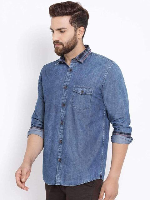 Richlook Men Blue Slim Fit Faded Casual Denim Shirt