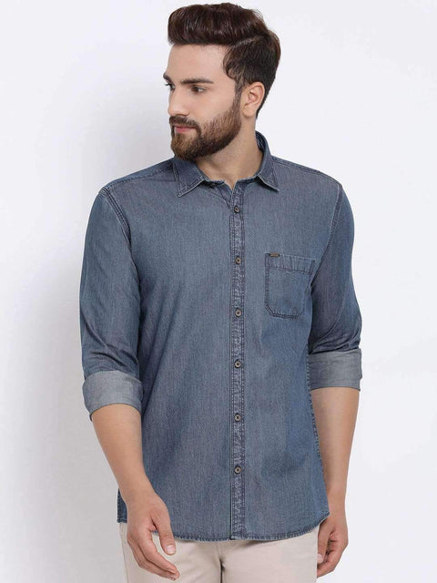 Richlook Men Blue Slim Fit Solid Casual Denim Shirt