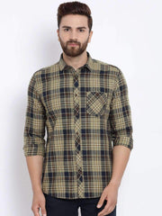 Richlook Casual Shirt Richlook Men Brown & Navy Blue Slim Fit Checked Casual Shirt
