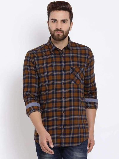 Brown & Navy Blue Casual Shirt
