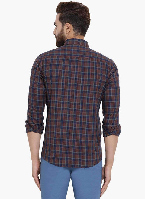 Richlook Men Brown & Navy Blue Slim Fit Checked Casual Shirt