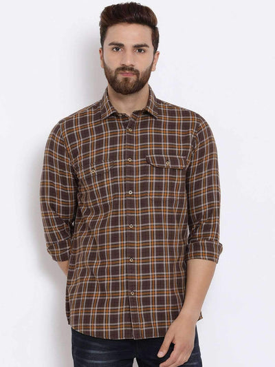 Richlook Men Brown Slim Fit Checked Casual Shirt