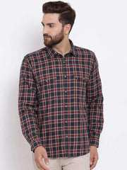 Richlook Men Charcoal & Red Slim Fit Checked Casual Shirt