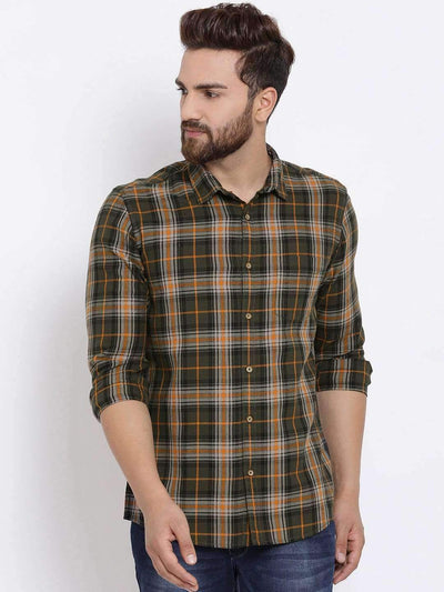Richlook Men Green & Mustard Orange Slim Fit Checked Casual Shirt