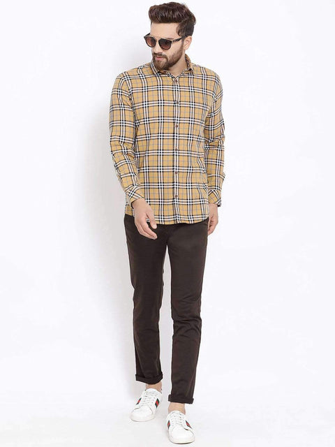 Mustard Orange & White Casual Shirt