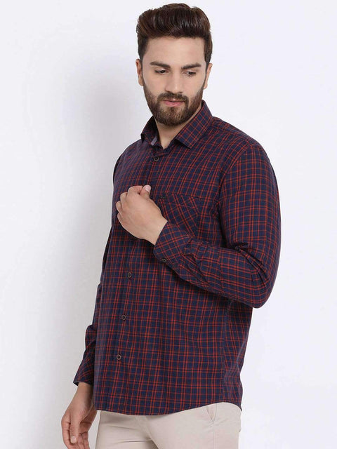 Richlook Men Navy Blue & Orange Slim Fit Checked Casual Shirt