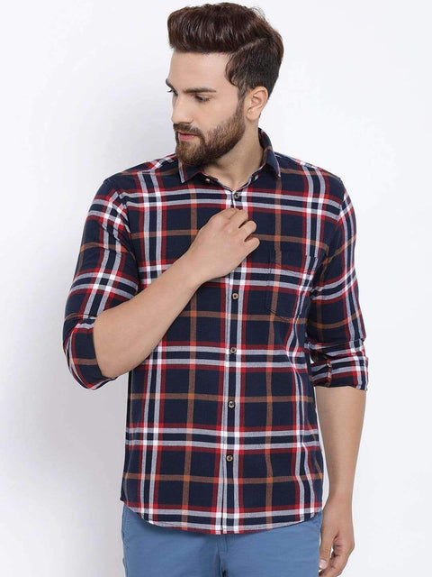 Richlook Men Navy Blue & Red Slim Fit Checked Casual Shirt
