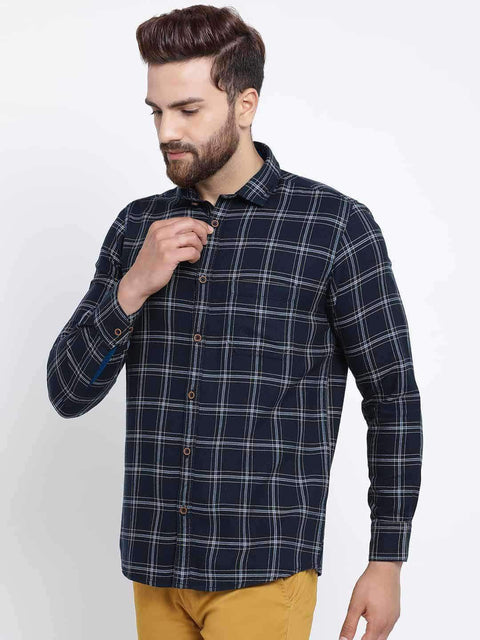 Richlook Men Navy Blue Slim Fit Checked Casual Shirt