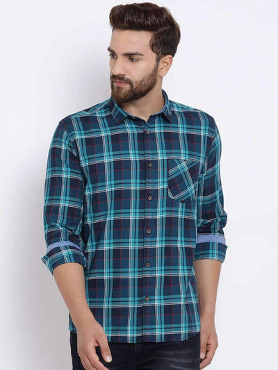 Navy Blue Checked Casual Shirt