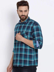 Navy Blue Checked Casual Shirt side view