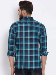 Navy Blue Checked Casual Shirt back view