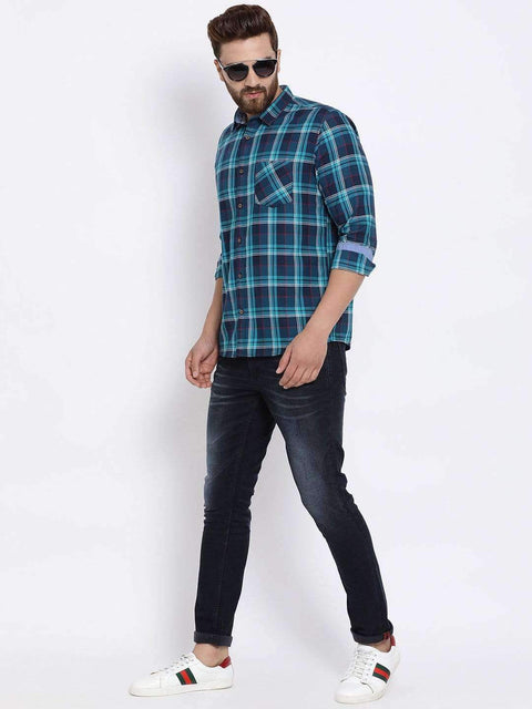 Navy Blue Checked Casual Shirt full view