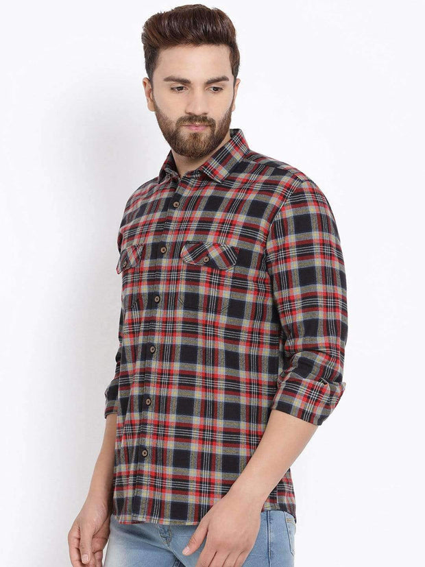 Richlook Men Orange & Black Slim Fit Checked Casual Shirt