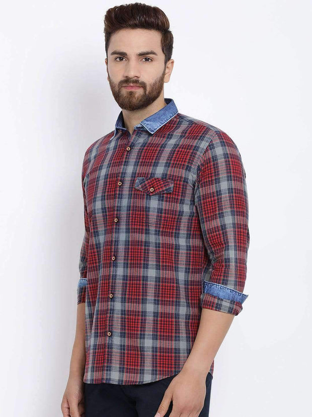 Richlook Men Red & Blue Slim Fit Checked Casual Shirt