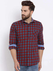 Richlook Men Red & Navy Blue Slim Fit Checked Casual Shirt