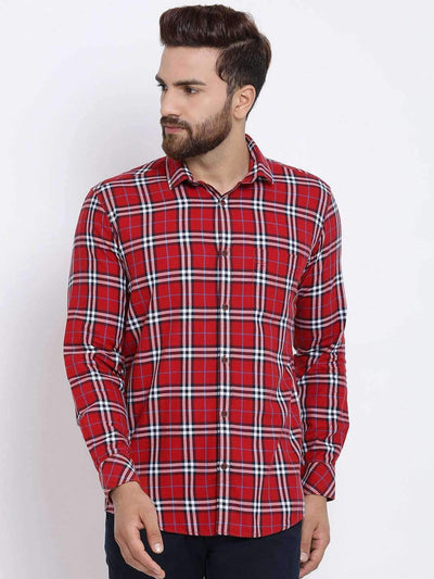 Red & White Checked Casual Shirt