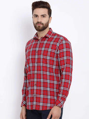 Red & White Checked Casual Shirt side view