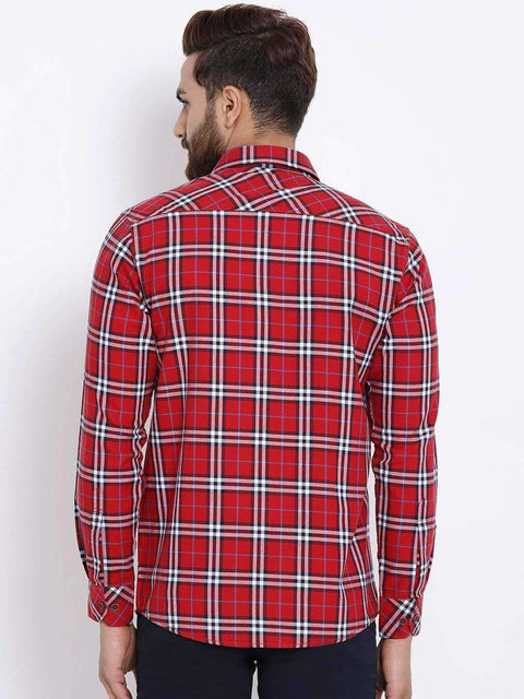 Red & White Checked Casual Shirt back view
