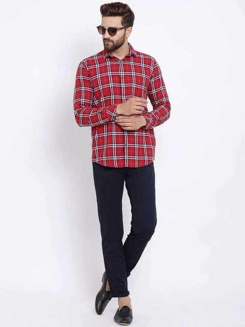 Red & White Checked Casual Shirt full view