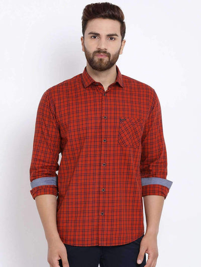 Richlook Men Rust & Blue Slim Fit Checked Casual Shirt