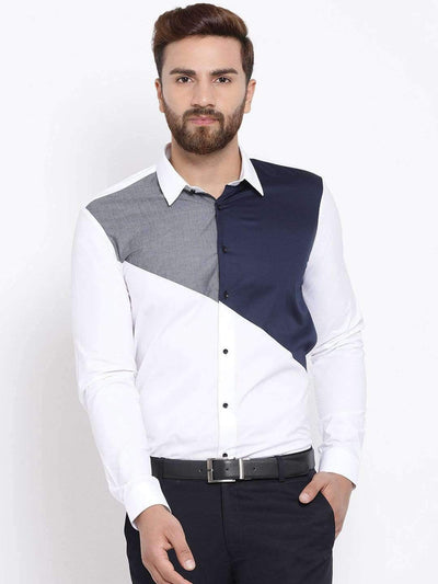 White & Blue Slim Fit Colourblocked Casual Shirt