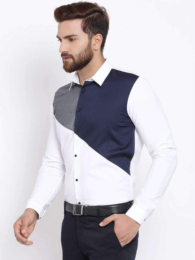 White & Blue Slim Fit Colourblocked Casual Shirt side view