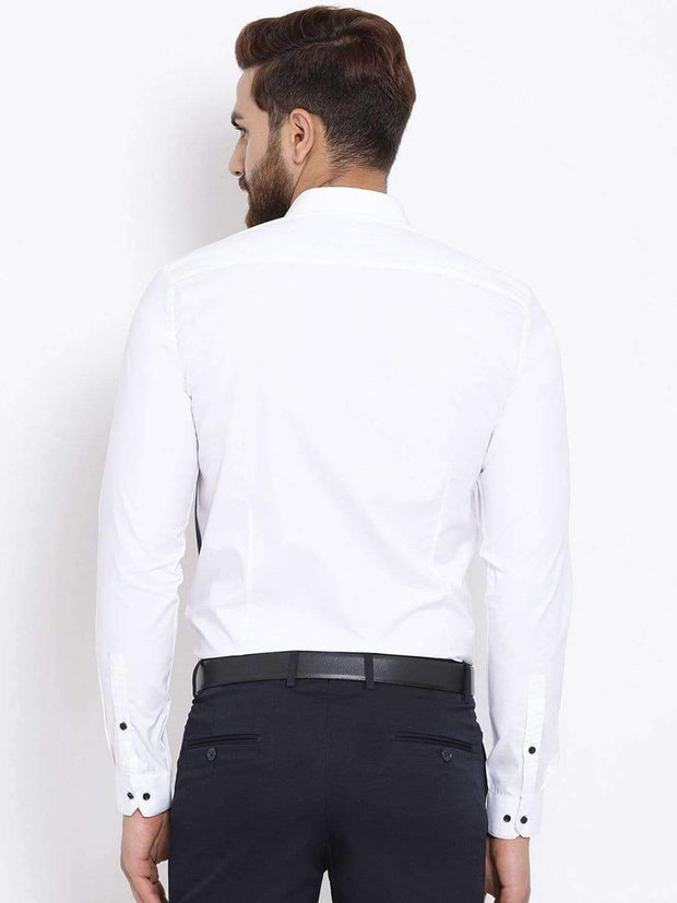 White & Blue Slim Fit Colourblocked Casual Shirt back view