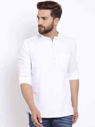 Men White Slim Fit Solid Casual Shirt