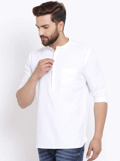 Men White Slim Fit Solid Casual Shirt for Men