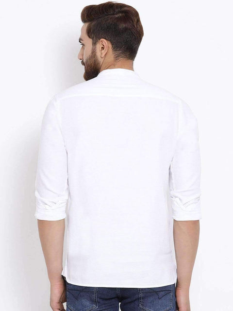 Men White Slim Fit Solid Casual Shirt back view