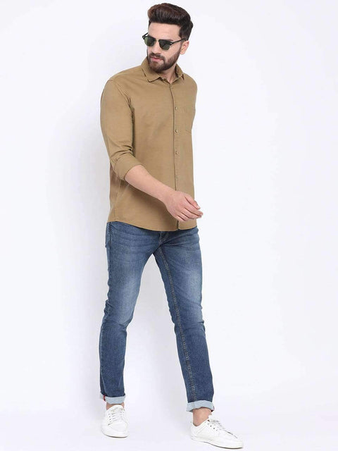 Mustard Casual Slim Fit Shirt for Men