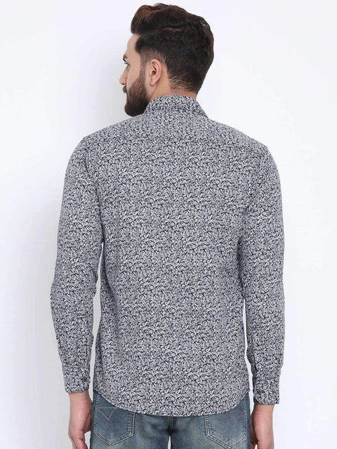 Navy Casual Slim Fit Shirt back view