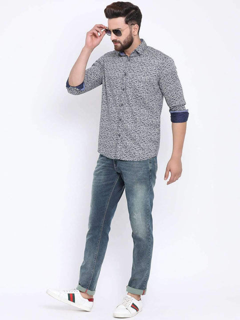 Navy Casual Slim Fit Shirt for men