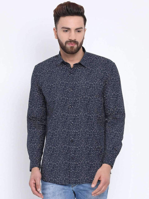 Navy Casual Slim Fit Shirt