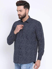 Navy Casual Slim Fit Shirt side view