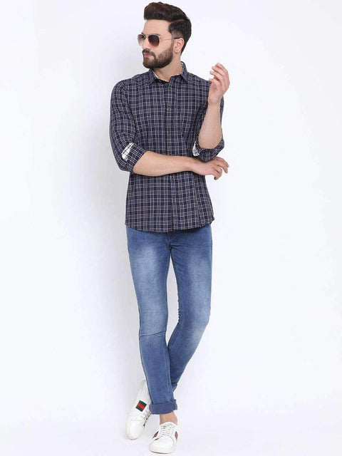 Richlook Navy Casual Slim Fit Shirt