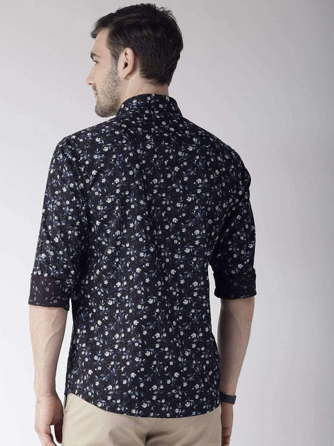 Navy Slim Fit Casual Shirt for back view