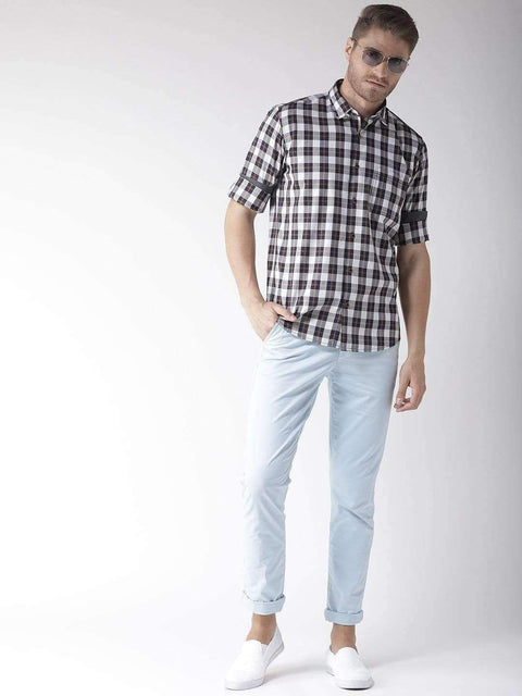 Off White & Blue Casual Shirt for Men