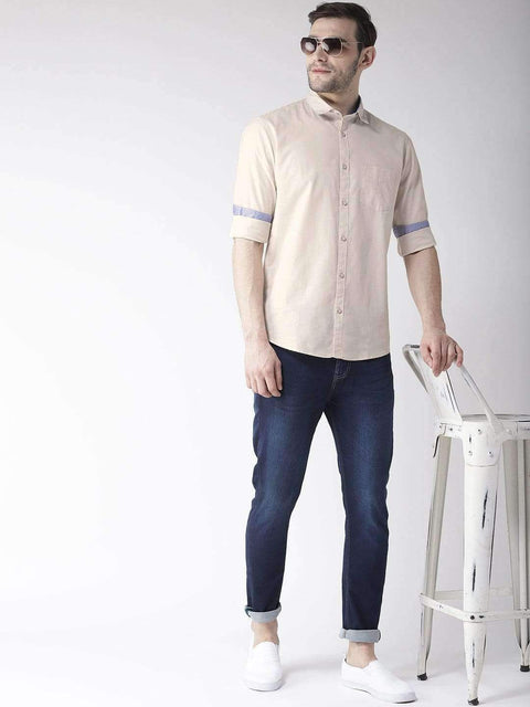 Richlook Casual Shirt Richlook Pale Cream Slim Fit Casual Shirt