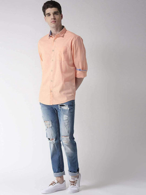 Peach Slim Fit Casual Shirt Full View