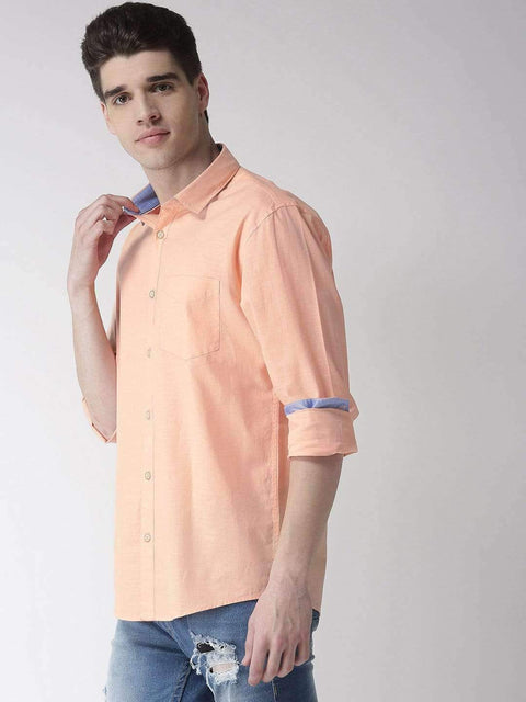 Peach Slim Fit Casual Shirt Side View