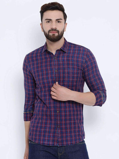 Richlook Casual Shirt Richlook Red & Black Casual Slim Fit Shirt
