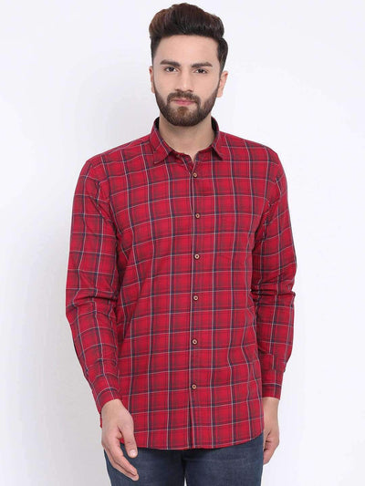 Red Casual Slim Fit Shirt