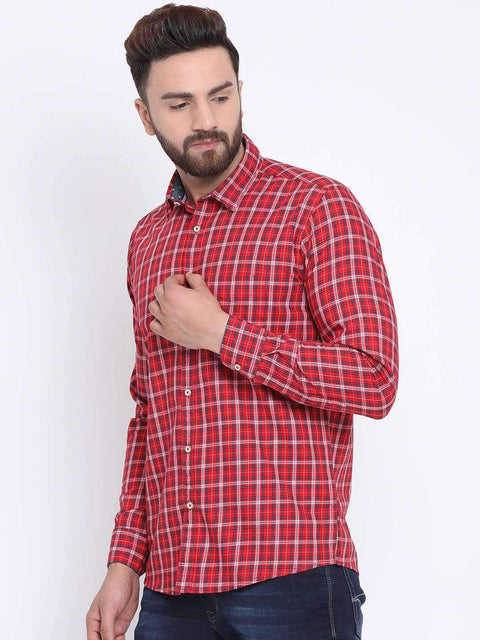 Red Casual Slim Fit Shirt side view