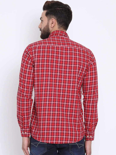 Red Casual Slim Fit Shirt full view