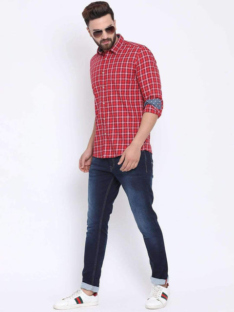 Red Casual Slim Fit Shirt for men