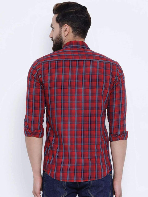 Richlook Casual Shirt Richlook Red Casual Slim Fit Shirt