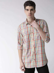 Richlook Casual Shirt Richlook Red & Mustard Slim Fit Casual Shirt